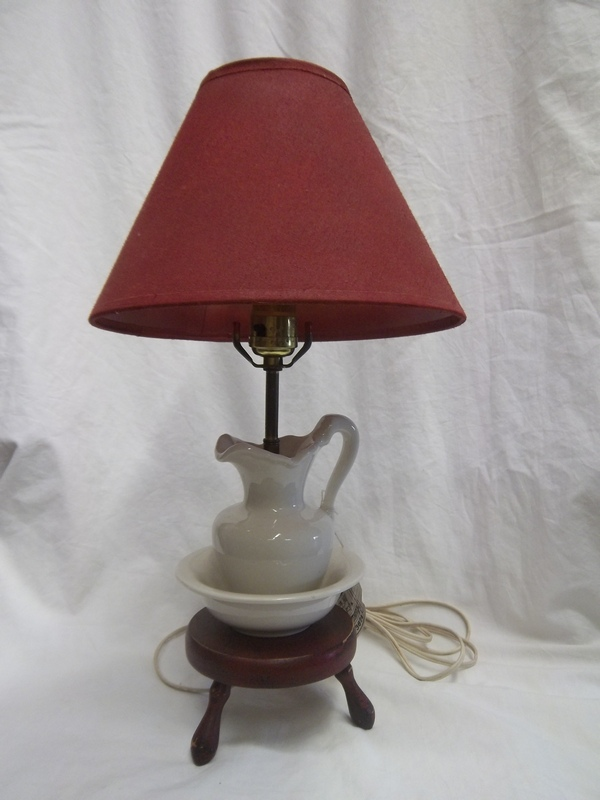 Small Bowl and Pitcher Style Lamp w/ Red and Black Crackled Distressed Mini Milk Stool Base