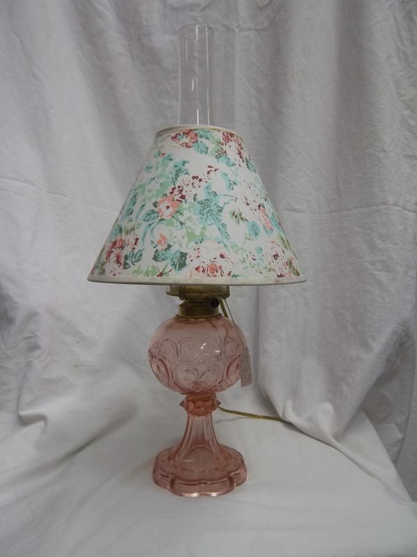 Pink Heart Design electrified Kersone Lamp w/ Chimney & Shade $75+tax