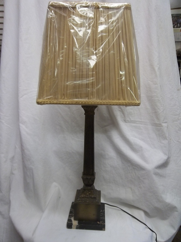 "Black Marble Base Antique Brass Square Column Lamp 31.5"" tall x 13"" wide at bottom of Washer Type Shade, $59+tax (Shade not included)"