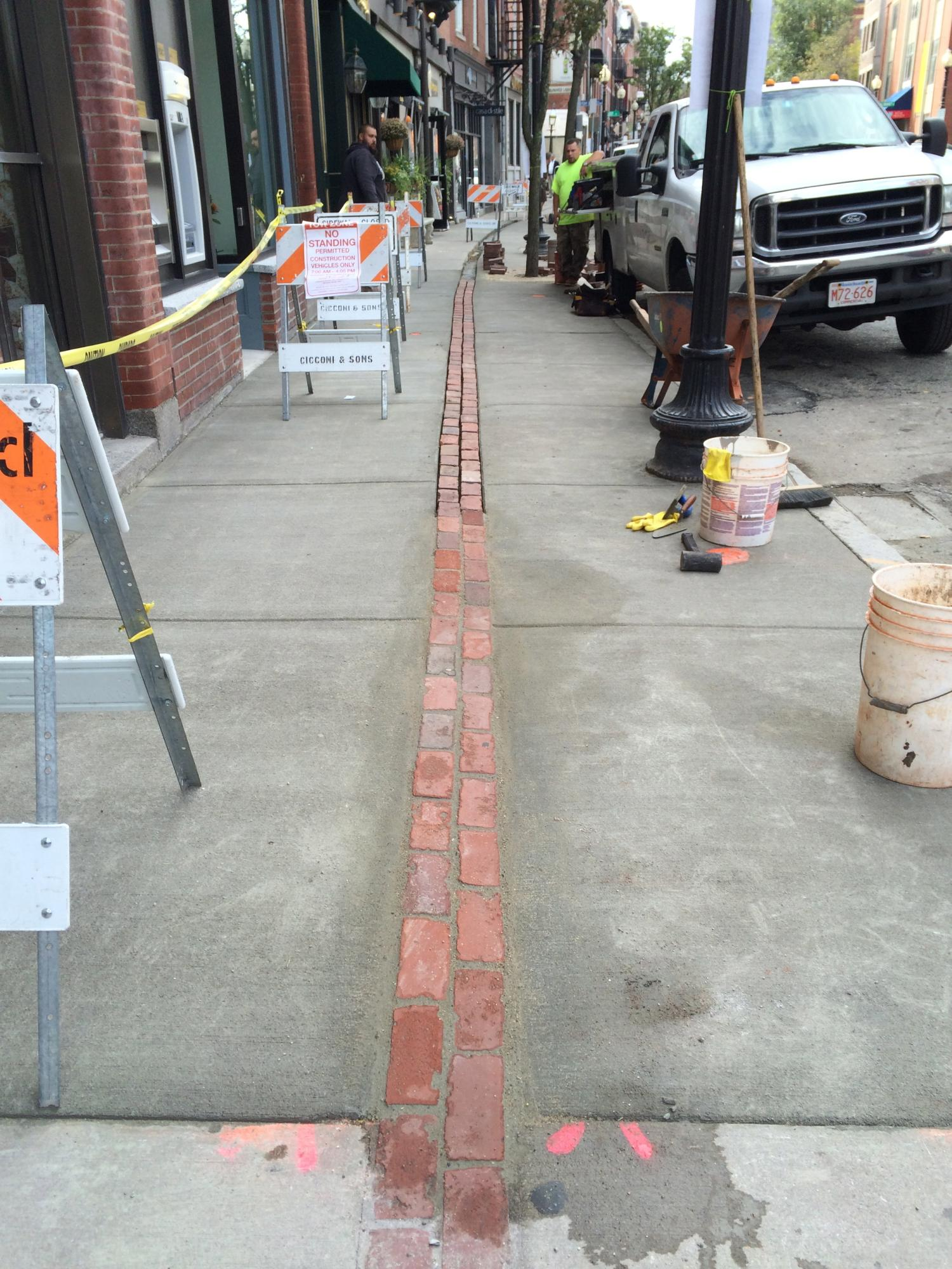 Freedom Trail work on Hanover St.