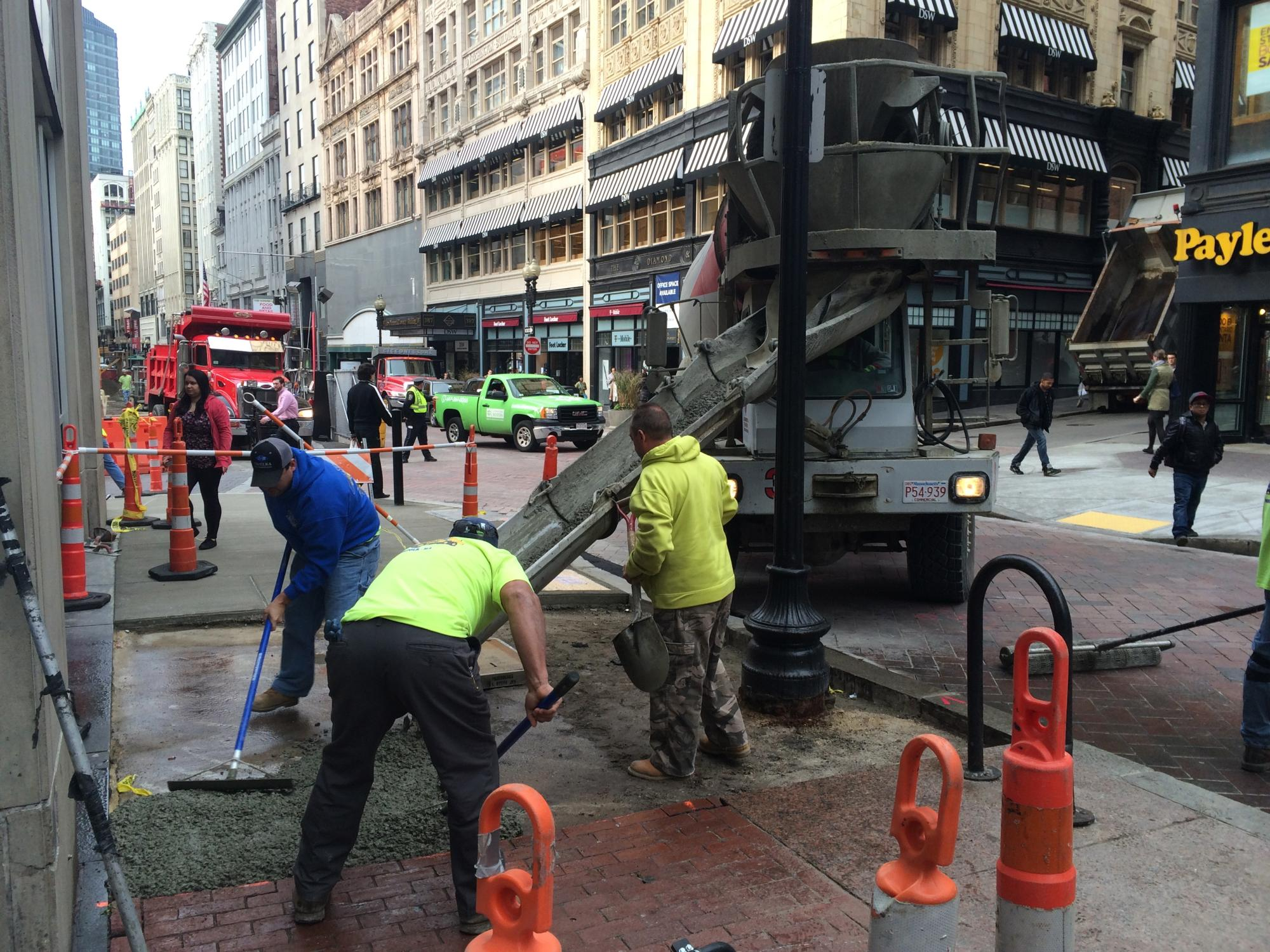 Pouring Concrete Ramps Downtown