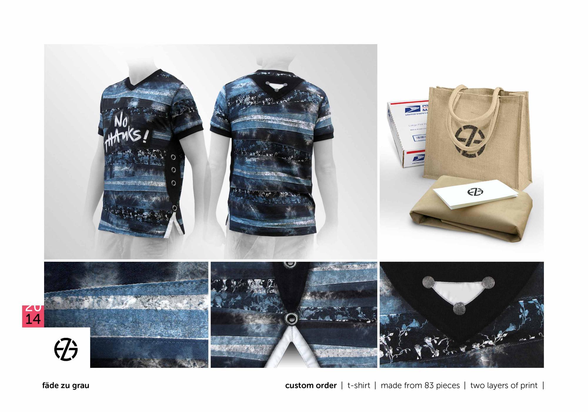 "fäde zu grau | custom order | t-shirt ""no thanks!"""