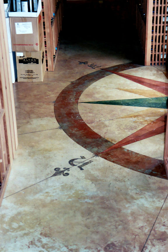 Compass rose painted Floor