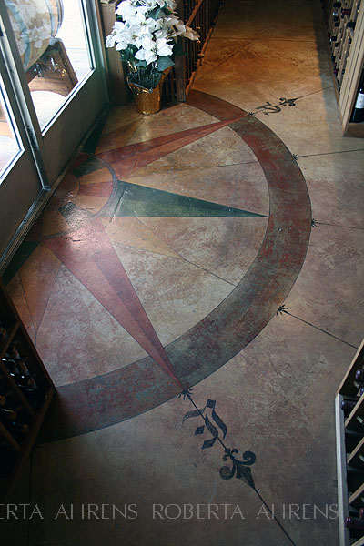 Painted floor, Compass Rose, North Berkeley Wine Imports