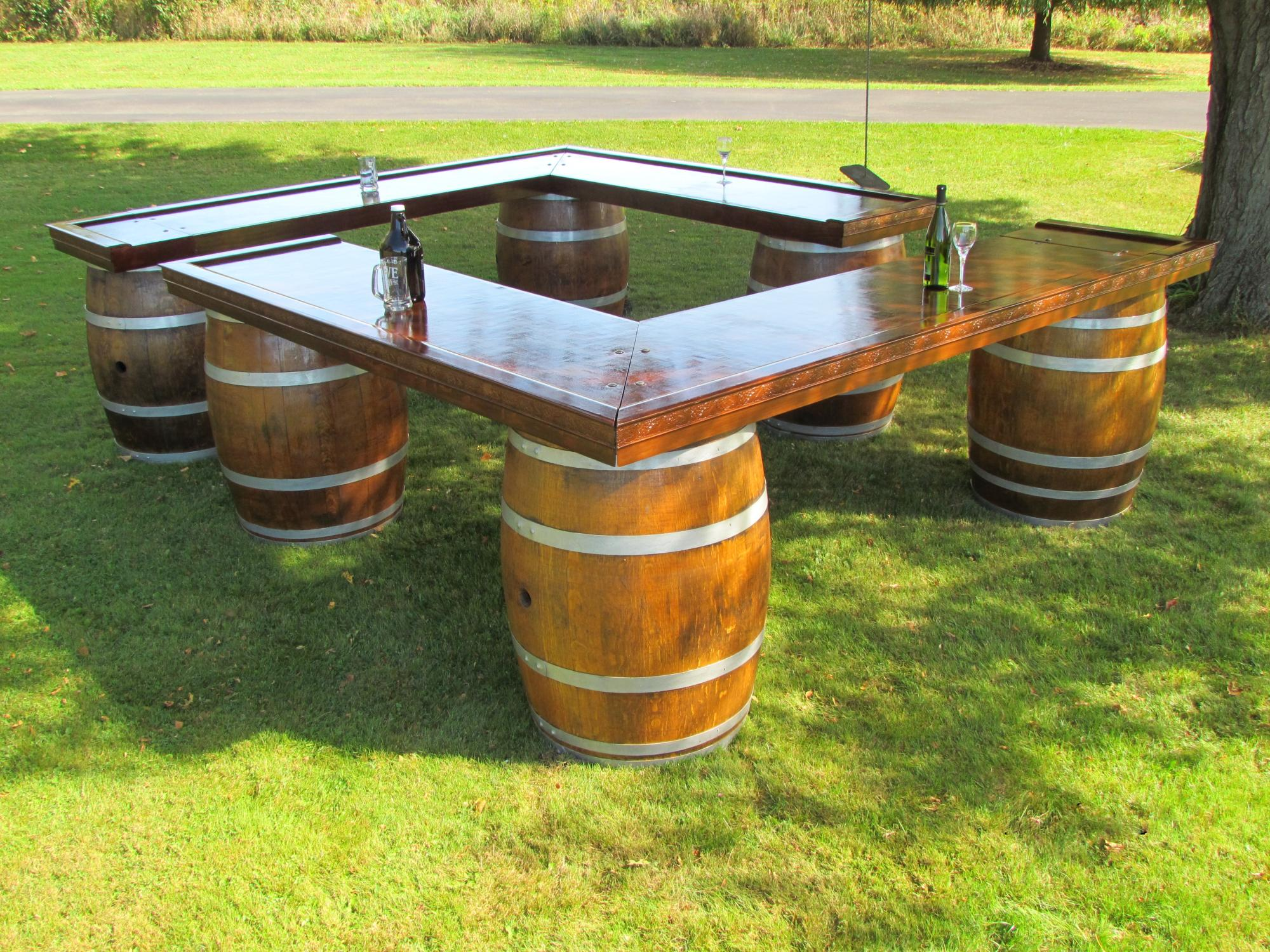 The Brut: Utilizing six refinished oak wine barrels for the base. Adds rustic charm to any event.